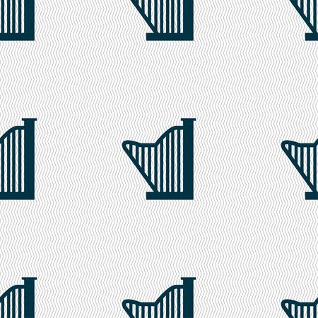 lyra: Harp icon sign. Seamless pattern with geometric texture. Vector illustration Illustration