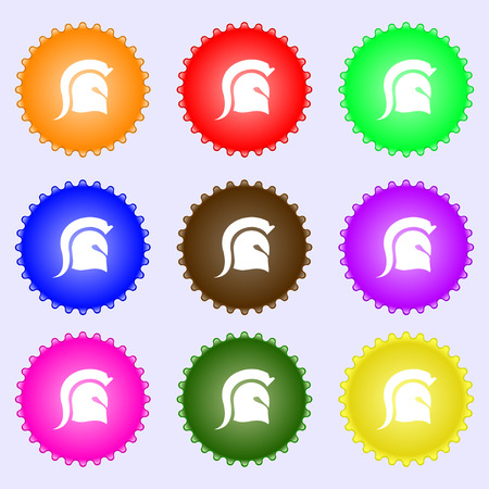 Spartan Helmet icon sign. Big set of colorful, diverse, high-quality buttons. Vector illustration