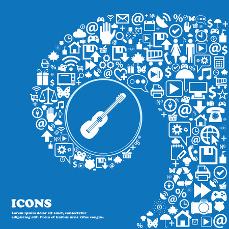 strumming: acoustic guitar icon . Nice set of beautiful icons twisted spiral into the center of one large icon. Vector illustration