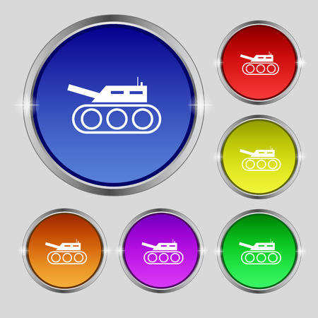 hostility: Tank, war, army icon sign. Round symbol on bright colourful buttons. Vector illustration