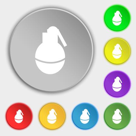 devastation: Hand Grenade icon sign. Symbol on eight flat buttons. Vector illustration