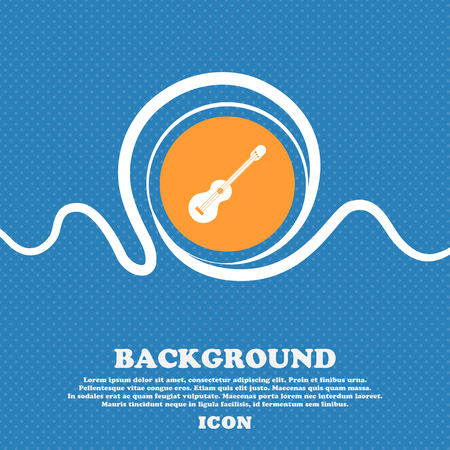 strumming: acoustic guitar icon sign. Blue and white abstract background flecked with space for text and your design. Vector illustration