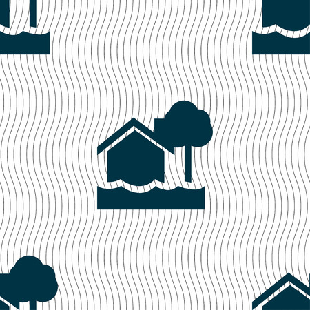 flooding home icon sign. Seamless pattern with geometric texture. Vector illustration Illustration