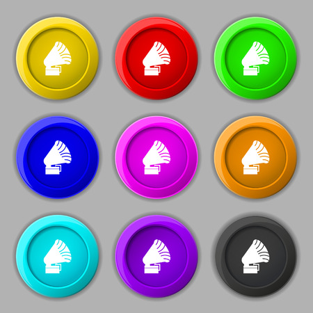 sound box: Gramophone icon. sign. symbol on nine round colourful buttons. Vector illustration