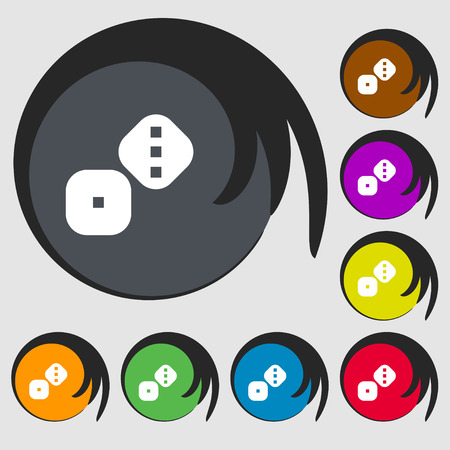 backgammon: Dice Cubes icon sign. Symbols on eight colored buttons. Vector illustration