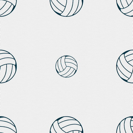 indoor sport: Volleyball icon sign. Seamless pattern with geometric texture. Vector illustration Illustration