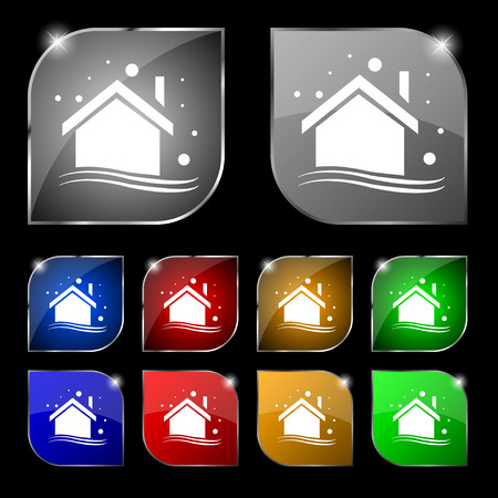 winter  house: Winter house icon sign. Set of ten colorful buttons with glare. Vector illustration sign. Set of ten colorful buttons with glare. Vector illustration Illustration