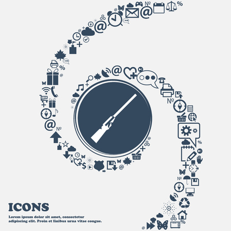 carbine: Shotgun icon in the center. Around the many beautiful symbols twisted in a spiral. You can use each separately for your design. Vector illustration
