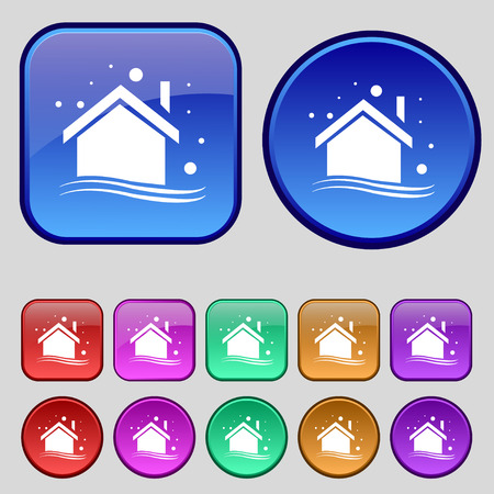 abode: Winter house icon sign. A set of twelve vintage buttons for your design. Vector illustration