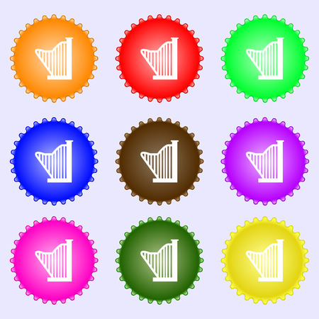 lyra: Harp icon sign. Big set of colorful, diverse, high-quality buttons. Vector illustration