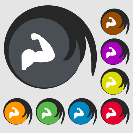 in flexed: Biceps strong arm. Muscle icon sign. Symbols on eight colored buttons. Vector illustration Illustration