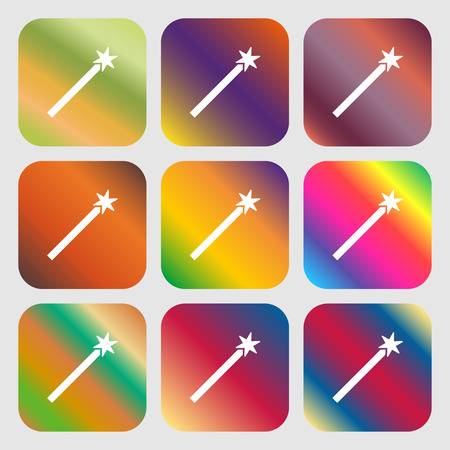 Magic Wand Icon . Nine buttons with bright gradients for beautiful design. Vector illustration