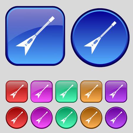 strumming: guitar icon sign. A set of twelve vintage buttons for your design. Vector illustration