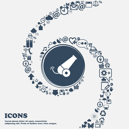cannonball: Cannon icon in the center. Around the many beautiful symbols twisted in a spiral. You can use each separately for your design. Vector illustration
