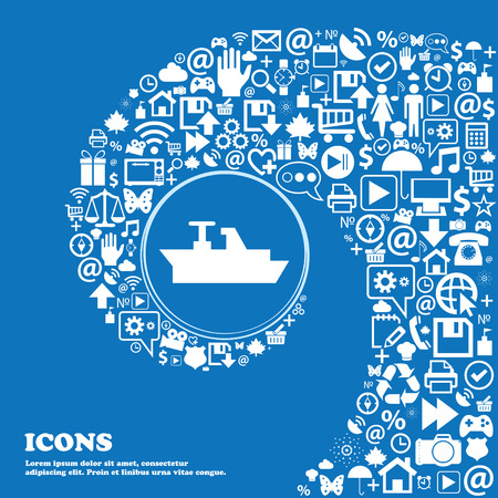 brigantine: Ships, boats, cargo icon . Nice set of beautiful icons twisted spiral into the center of one large icon. Vector illustration Illustration