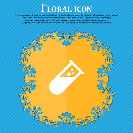 chemistry icon icon. Floral flat design on a blue abstract background with place for your text. Vector illustration Illustration
