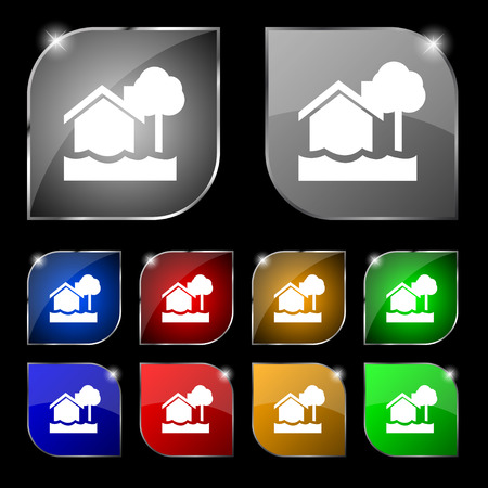 sail fin: flooding home icon sign. Set of ten colorful buttons with glare. Vector illustration sign. Set of ten colorful buttons with glare. Vector illustration