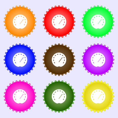 accelerated: speedometer Icon sign. Big set of colorful, diverse, high-quality buttons. Vector illustration