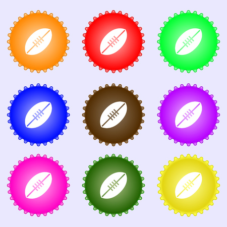 American Football icon sign. Big set of colorful, diverse, high-quality buttons. Vector illustration