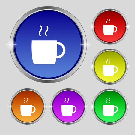 coffee icon sign. Round symbol on bright colourful buttons. Vector illustration