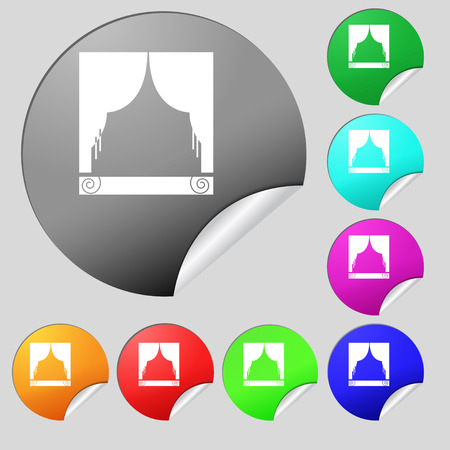 home theater: Window curtains icon sign. Set of eight multi colored round buttons, stickers. Vector illustration
