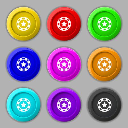 las vegas metropolitan area: Gambling chips icon sign. symbol on nine round colourful buttons. Vector illustration Illustration