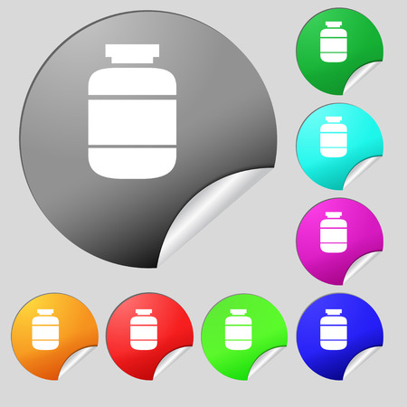 prescription bottles: medication icon sign. Set of eight multi colored round buttons, stickers. Vector illustration