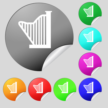 gaita: Harp icon sign. Set of eight multi colored round buttons, stickers. Vector illustration