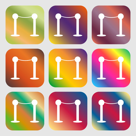 celebrities: Cinema fence line icon . Nine buttons with bright gradients for beautiful design. Vector illustration