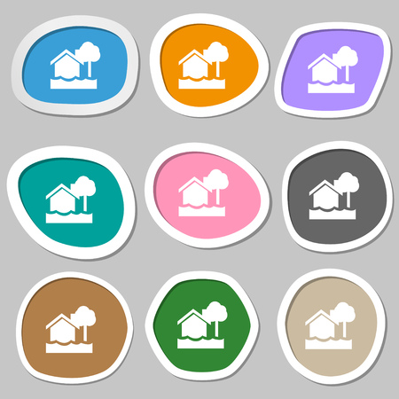 flooding: flooding home icon symbols. Multicolored paper stickers. Vector illustration Illustration