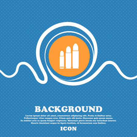 m16 ammo: bullet Icon sign. Blue and white abstract background flecked with space for text and your design. Vector illustration