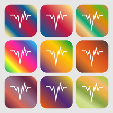 rhythm: pulse Icon . Nine buttons with bright gradients for beautiful design. Vector illustration