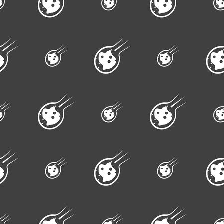 devastation: Flame meteorite icon sign. Seamless pattern on a gray background. Vector illustration Illustration