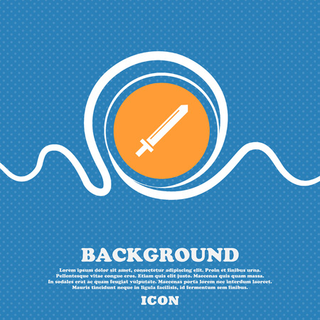 cutlass: Sword icon sign. Blue and white abstract background flecked with space for text and your design. Vector illustration
