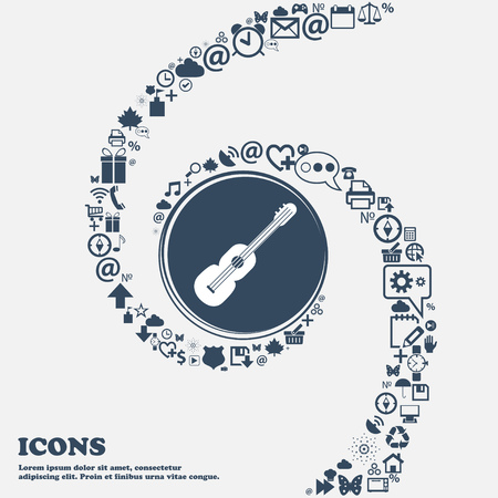 strumming: acoustic guitar icon in the center. Around the many beautiful symbols twisted in a spiral. You can use each separately for your design. Vector illustration