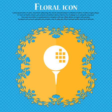 Golf icon icon. Floral flat design on a blue abstract background with place for your text. Vector illustration Illustration