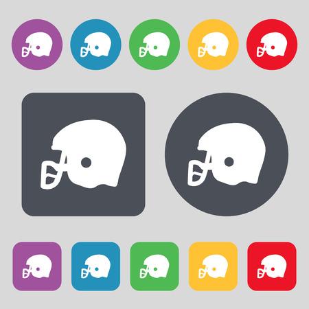 american football helmet set: american football helmet icon sign. A set of 12 colored buttons. Flat design. Vector illustration