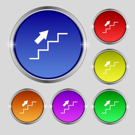 going up: Stairs going up icon sign. Round symbol on bright colourful buttons. Vector illustration Illustration