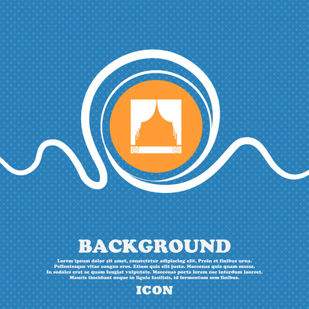 home theater: Window curtains icon sign. Blue and white abstract background flecked with space for text and your design. Vector illustration