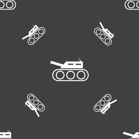 firepower: Tank, war, army icon sign. Seamless pattern on a gray background. Vector illustration Illustration