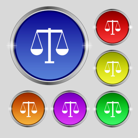 convicted: Scales of Justice icon sign. Round symbol on bright colourful buttons. Vector illustration