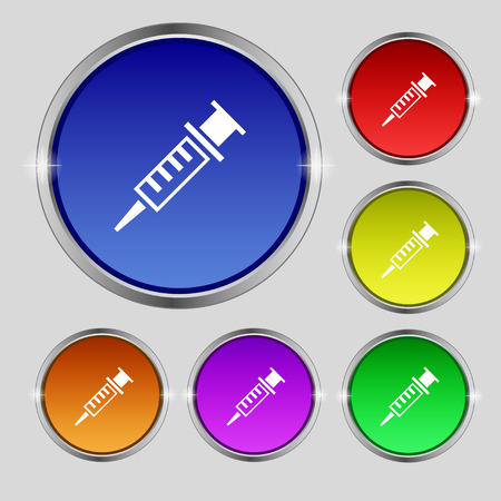 drug user: Syringe icon sign. Round symbol on bright colourful buttons. Vector illustration