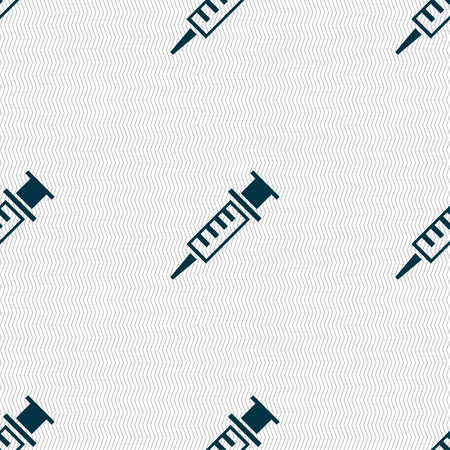 an injector: Syringe icon sign. Seamless pattern with geometric texture. Vector illustration