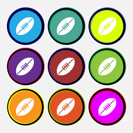 American Football icon sign. Nine multi colored round buttons. Vector illustration