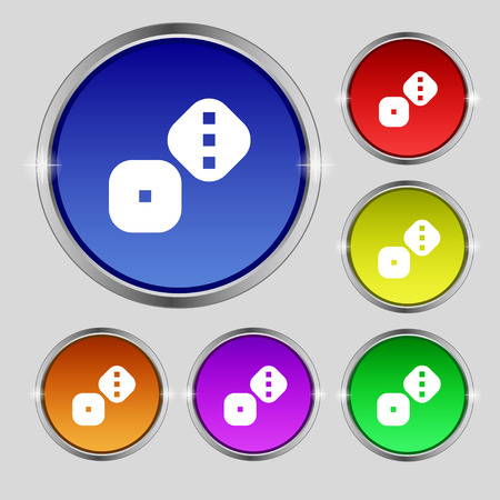 Dice Cubes icon sign. Round symbol on bright colourful buttons. Vector illustration Illustration