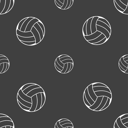 indoor sport: Volleyball icon sign. Seamless pattern on a gray background. Vector illustration