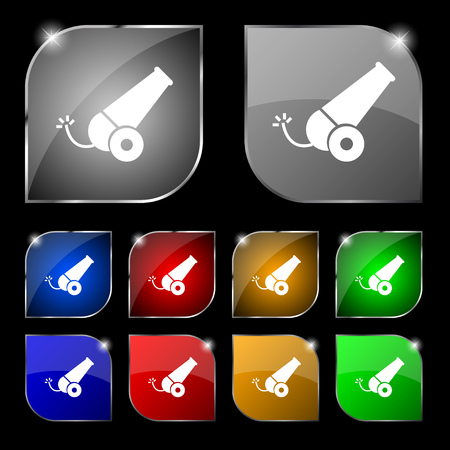 Cannon icon sign. Set of ten colorful buttons with glare. Vector illustration sign. Set of ten colorful buttons with glare. Vector illustration