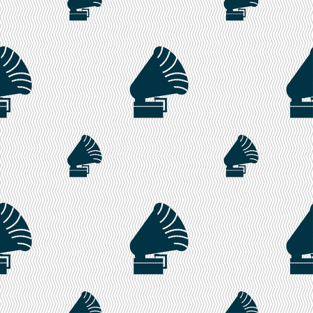 restored: Gramophone icon. sign. Seamless pattern with geometric texture. Vector illustration
