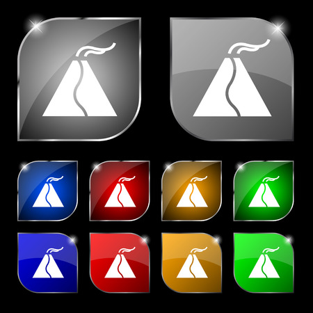 erupting: active erupting volcano icon sign. Set of ten colorful buttons with glare. Vector illustration sign. Set of ten colorful buttons with glare. Vector illustration