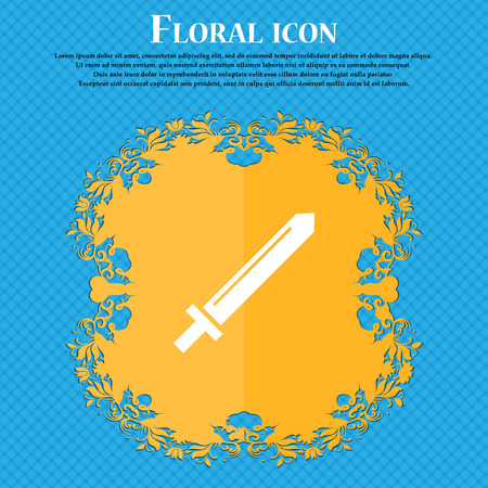 Sword icon icon. Floral flat design on a blue abstract background with place for your text. Vector illustration Illustration